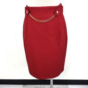 Vintage Red Pencil Skirt Pearl Belt Chain